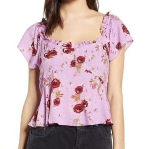 NWT Row A Purple Floral Blouse M